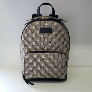 Gucci Bees Embossed Monogram Beige Backpack